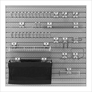 PRO Series 16 Sq. Ft. Steel Slatwall with 40-Piece Steel Slatwall Accessory Kit