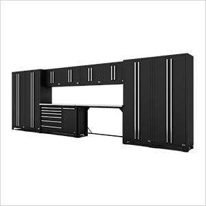 Fusion Pro 12-Piece Black Garage Cabinet System