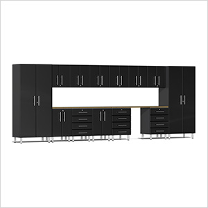 15-Piece Cabinet Kit with Bamboo Worktop in Midnight Black Metallic