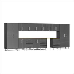 15-Piece Cabinet Kit with Bamboo Worktop in Graphite Grey Metallic