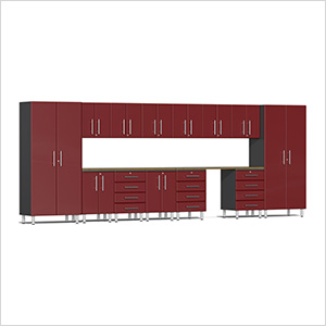 15-Piece Cabinet Kit with Bamboo Worktop in Ruby Red Metallic
