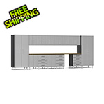 Ulti-MATE Garage Cabinets 15-Piece Cabinet Kit with Bamboo Worktop in Stardust Silver Metallic