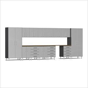 15-Piece Cabinet Kit with Bamboo Worktop in Stardust Silver Metallic