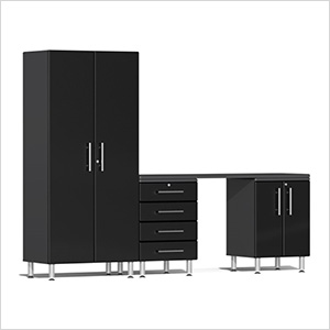 4-Piece Cabinet Kit with Channeled Worktop in Midnight Black Metallic