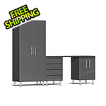 Ulti-MATE Garage Cabinets 4-Piece Cabinet Kit with Channeled Worktop in Graphite Grey Metallic