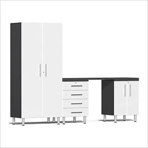 4-Piece Cabinet Kit with Channeled Worktop in Starfire White Metallic