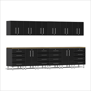 14-Piece Cabinet Kit with Bamboo Worktops in Midnight Black Metallic