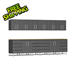 Ulti-MATE Garage Cabinets 14-Piece Cabinet Kit with Bamboo Worktops in Graphite Grey Metallic