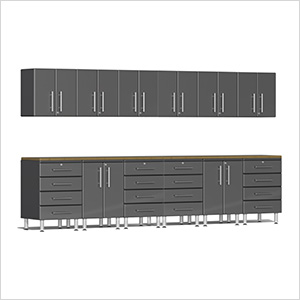 14-Piece Cabinet Kit with Bamboo Worktops in Graphite Grey Metallic