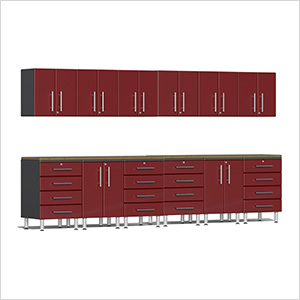 14-Piece Cabinet Kit with Bamboo Worktops in Ruby Red Metallic
