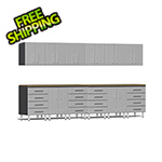 Ulti-MATE Garage Cabinets 14-Piece Cabinet Kit with Bamboo Worktops in Stardust Silver Metallic