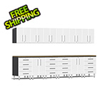 Ulti-MATE Garage Cabinets 14-Piece Cabinet Kit with Bamboo Worktops in Starfire White Metallic