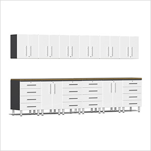 14-Piece Cabinet Kit with Bamboo Worktops in Starfire White Metallic