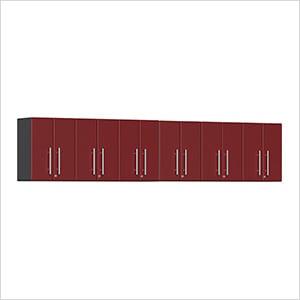 6-Piece Garage Wall Cabinet Kit in Ruby Red Metallic