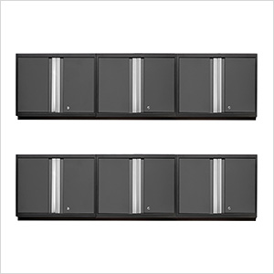 6 x PRO 3.0 Series Grey Wall Cabinets