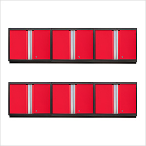 6 x PRO 3.0 Series Red Wall Cabinets