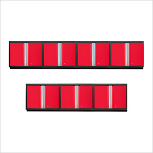 7 x PRO 3.0 Series Red Wall Cabinets