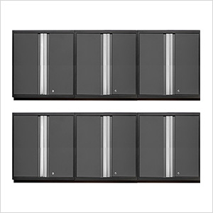 6 x PRO 3.0 Series Grey Tall Wall Cabinets