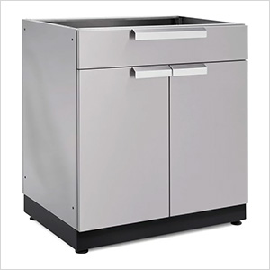 Stainless Steel 2-Door with Drawer Cabinet