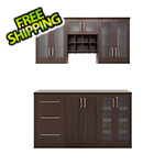 NewAge Home Bar Espresso 7-Piece Cabinet Set - 21""