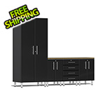 Ulti-MATE Garage Cabinets 5-Piece Cabinet Kit with Bamboo Worktop in Midnight Black Metallic