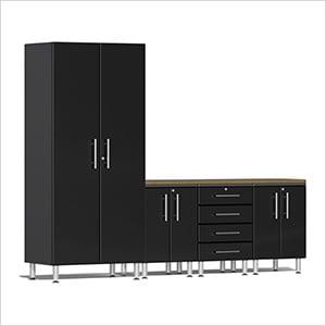 5-Piece Cabinet Kit with Bamboo Worktop in Midnight Black Metallic