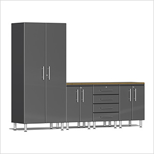 5-Piece Cabinet Kit with Bamboo Worktop in Graphite Grey Metallic