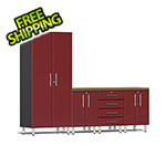 Ulti-MATE Garage Cabinets 5-Piece Cabinet Kit with Bamboo Worktop in Ruby Red Metallic