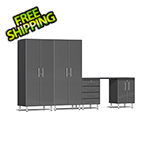 Ulti-MATE Garage Cabinets 5-Piece Cabinet Kit with Channeled Worktop in Graphite Grey Metallic