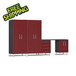 Ulti-MATE Garage Cabinets 5-Piece Cabinet Kit with Channeled Worktop in Ruby Red Metallic