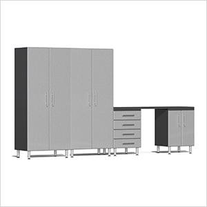 5-Piece Cabinet Kit with Channeled Worktop in Stardust Silver Metallic