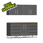 Ulti-MATE Garage Cabinets 6-Piece Cabinet Kit with Bamboo Worktop in Graphite Grey Metallic