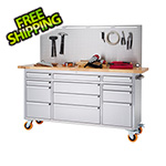 Trinity 72 in. Stainless Steel Rolling Workbench with Pegboard