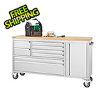 Trinity 66 in. Stainless Steel Rolling Workbench