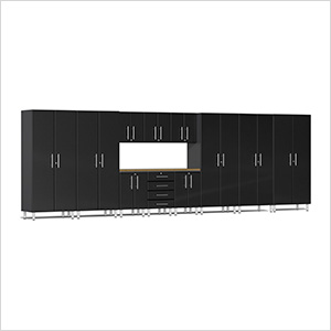 12-Piece Cabinet Kit with Bamboo Worktop in Midnight Black Metallic