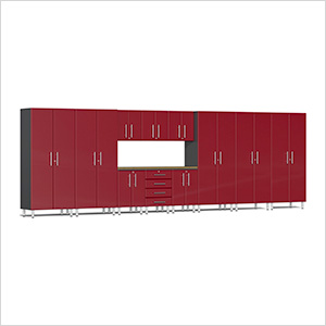 12-Piece Cabinet Kit with Bamboo Worktop in Ruby Red Metallic