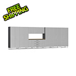 Ulti-MATE Garage Cabinets 12-Piece Cabinet Kit with Bamboo Worktop in Stardust Silver Metallic