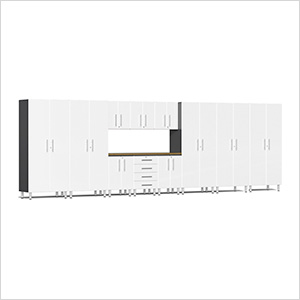 12-Piece Cabinet Kit with Bamboo Worktop in Starfire White Metallic