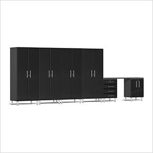 7-Piece Cabinet Kit with Channeled Worktop in Midnight Black Metallic
