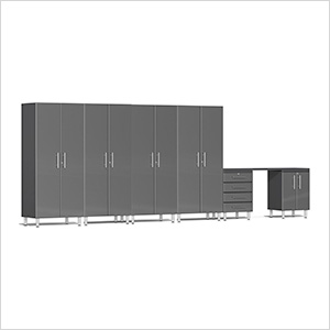 7-Piece Cabinet Kit with Channeled Worktop in Graphite Grey Metallic