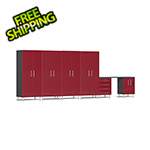 Ulti-MATE Garage Cabinets 7-Piece Cabinet Kit with Channeled Worktop in Ruby Red Metallic