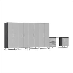 7-Piece Cabinet Kit with Channeled Worktop in Stardust Silver Metallic