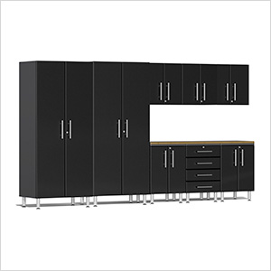 9-Piece Cabinet Kit with Bamboo Worktop in Midnight Black Metallic
