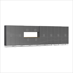 11-Piece Cabinet Kit with Bamboo Worktop in Graphite Grey Metallic