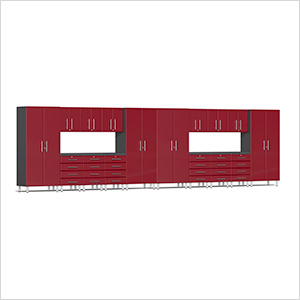 18-Piece Cabinet Kit with Channeled Worktops in Ruby Red Metallic