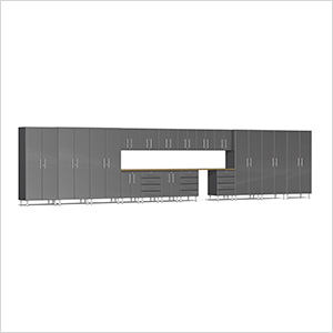19-Piece Cabinet Kit with Bamboo Worktop in Graphite Grey Metallic