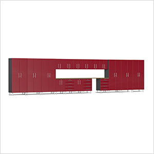 19-Piece Cabinet Kit with Bamboo Worktop in Ruby Red Metallic