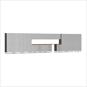 19-Piece Cabinet Kit with Bamboo Worktop in Stardust Silver Metallic