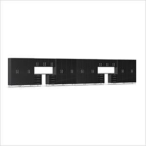 20-Piece Cabinet Kit with Channeled Worktops in Midnight Black Metallic