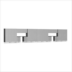 20-Piece Cabinet Kit with Channeled Worktops in Stardust Silver Metallic